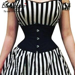 Image 1 - Burvogue espartilhos de treino, corselete modelador de emagrecimento, cinto curto, de cetim, amarrar, sensual