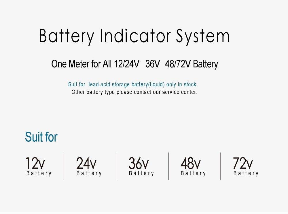 Rodada Indicador de carga Da Bateria voltage meter 12 24 V, 36 V, 48 72 V