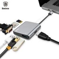 Baseus Typc-c Multiduty Adapter Hub USB Typu C Do Gniazda Usb SD TF Karta VGA HDMI RJ45 Ethernet Port Dla Nowy Macbook Pro 2016 2017