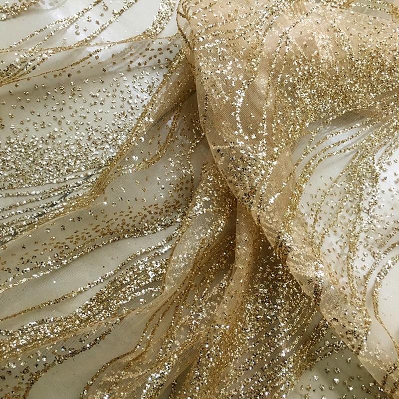 Wedding Lace Fabrics Gold Sequined Bronzed Diamond Crystal Party Dress Lace Stripe Flash Light Stage Performance Shiny 130CM