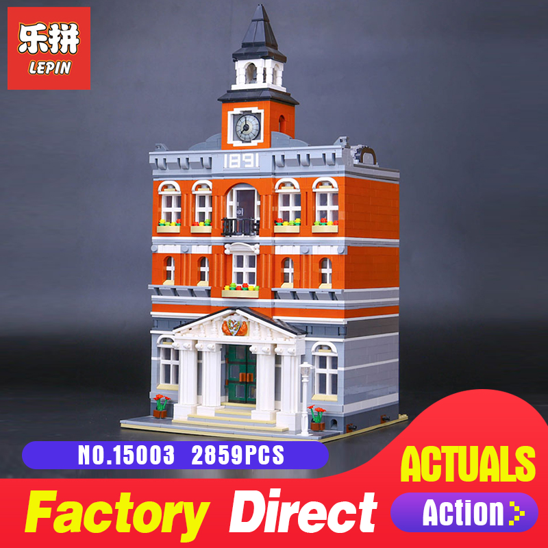 2859Pcs Lepin 15003 Kid's Toys The town hall Model Building Kits Building Blocks Bricks as Gift 10224 to children toys