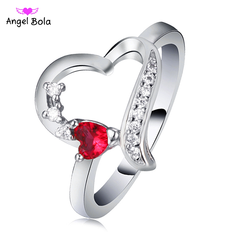 925 Sterling silver Ring Love Heart Cubic Zircon Engagement Rings for Women Wedding Jewelry RC-022