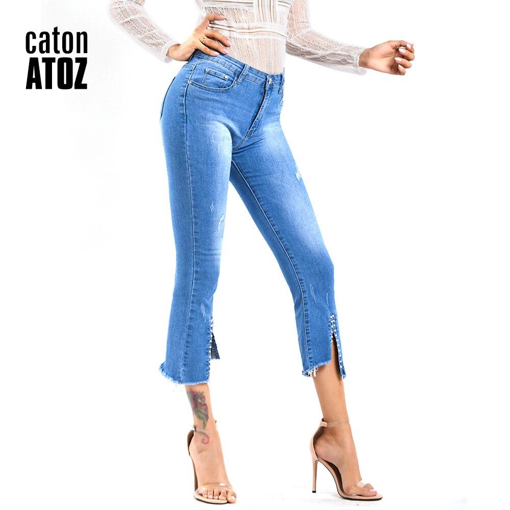 100% Wahr Catonatoz 2219 Frauen Vintage Zerrissene Plissee Jeans Bleistift Stretch Denim Hosen Weibliche Dünne Dünne Hosen Herbst Winterjeans