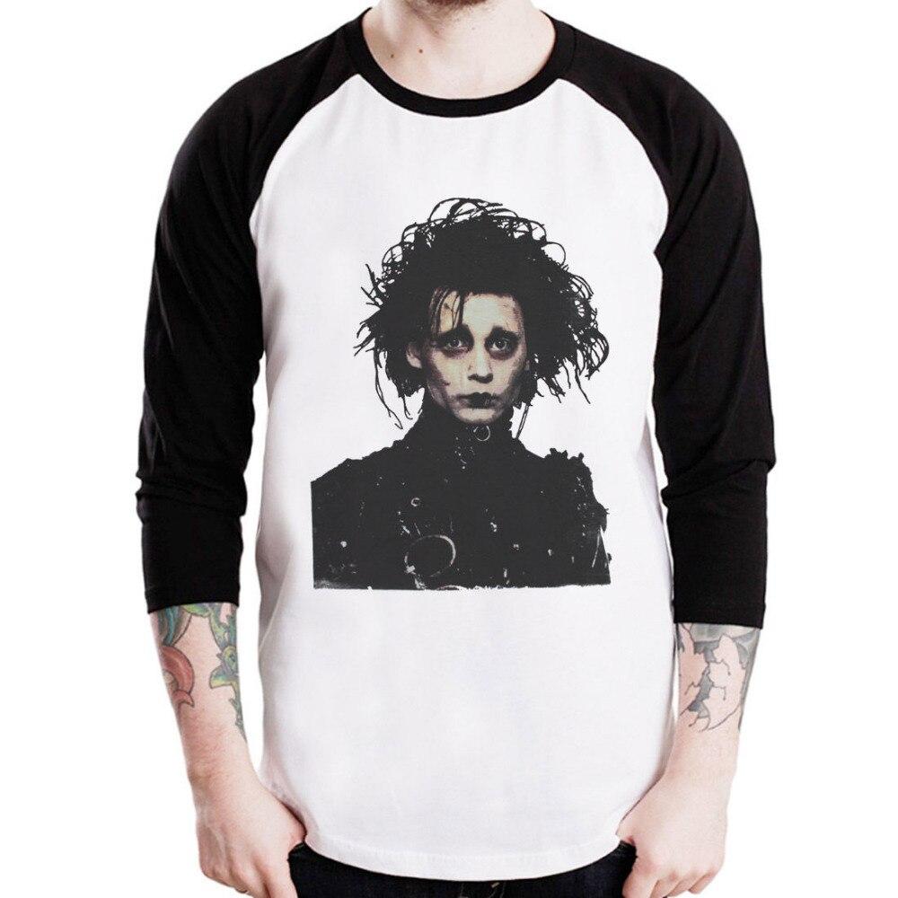d9a1b583 SCISSORHANDS Johnny Depp New Men's Plain BaseBall Graphic 3/4 Sleeve Raglan  Routine T-shirts Wholesale