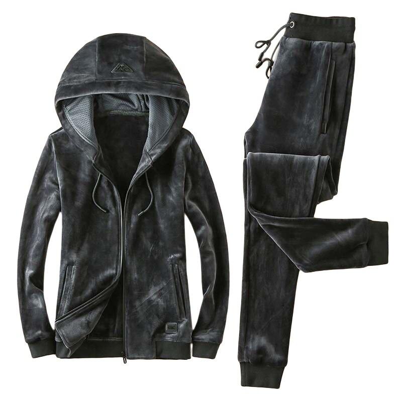 Men's 2018 Pleuche Running Suit Winter Plus Velvet Thickening Sports 2-piece Fleece Warm Youth Sports Suit Mens Running Suits детский костюм panda plus velvet suit ty1267 2015