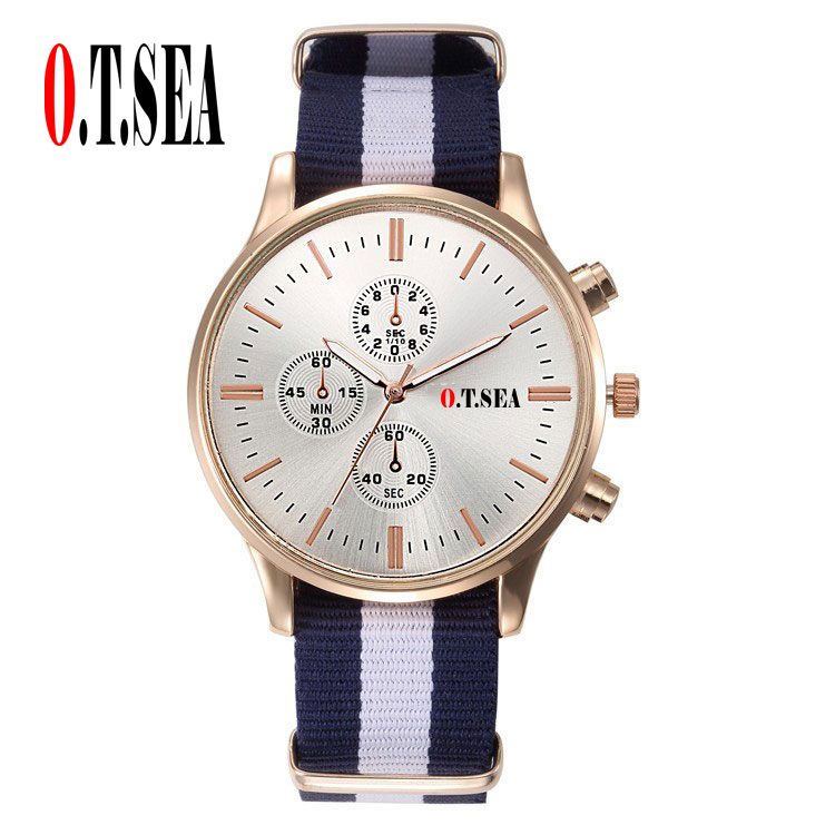 Luxury O.T.SEA Brand Soft Nylon Strap Watches Women Men Fashion Military Dress Quartz Wristwatches 9884