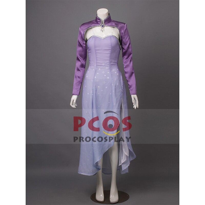 RWBY Vol.4 saison 4 reine des neiges Weiss Schnee robe longue Cosplay Costume & diadème & boucles d'oreilles mp003386