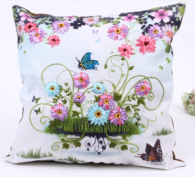 Cm d flowers ribbon embroidery pillow cushion cover