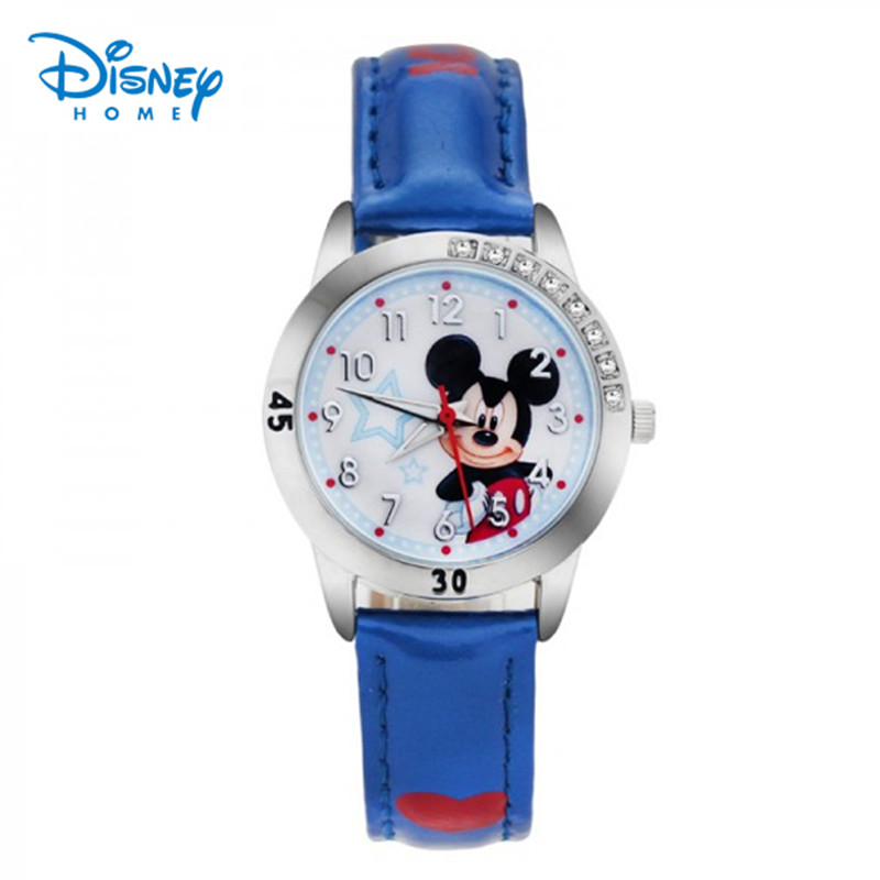 100% Genuine Disney watches Cartoon Watch Children Fashion cartoon Girl Kids Student Leather Sports Wrist Watch relojes 95003-1