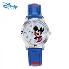 100% Genuino Disney relojes Cartoon Reloj de Los Niños de dibujos animados de Moda Niña Niños Estudiante de Cuero Reloj de Pulsera Deportivo relojes 95003-1