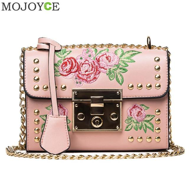 Women Embroidery Flower Bag Fashion Flap Rivet PU Leather Messenger Bag Sling Small Shoulder Bags Crossbody Messenger Bags 1