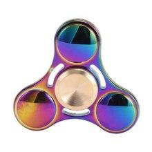 สายรุ้งนิ้วปินเนอร์อยู่ไม่สุขของเล่นทองเหลืองTri-s Pinnerสามเหลี่ยมEDCมืออยู่ไม่สุขGyroปลายนิ้วGyroscopeต่อต้านความเครียดของเล่นสำหรับทั้งหมด