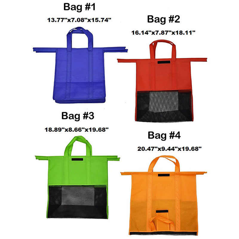 4 قطعة/المجموعة عربة تسوق حقائب تسوق قابلة للطي قابلة لإعادة الاستخدام حقيبة تسوق للبقالة ايكو اكياس السوبرماركات سهلة الاستخدام والثقيلة Bolsas