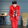 2016 Winter Girls Clothes Sets Warm Velvet Thick Children Snow Proof Clothing Waterproof Windproof Coat + Pant + Vest 3 Piece