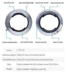 Image 2 - TECHART TZE 01 para Sony FE montaje de lente para Nikon Tamron Sigma F, montaje de lente para nikon Z6 Z7, adaptador de lente de cámara de enfoque automático