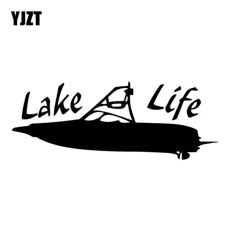 YJZT 15CM*5.7CM Lake Life Simple Ship Boat Artistic Conception Vinly Decal Cool Decor Car Sticker Black/Silver C27-0504