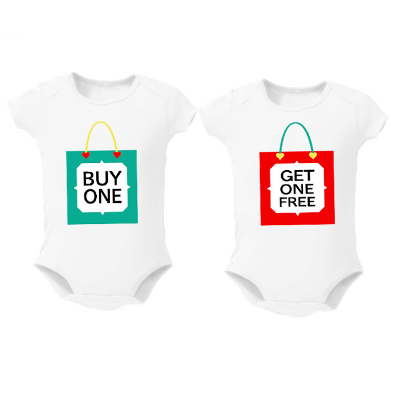 Twins Baby Bodysuits clothes Christmas Gift Buy one Get one free Baby Boy Girl Clothing Cute Baby Twins matching outfits 0-12M(China)