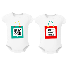 Twins Baby Bodysuits clothes shower Gift Buy one Get one free Baby Boy Girl Clothing Cute Baby Twins matching outfits 0-12M