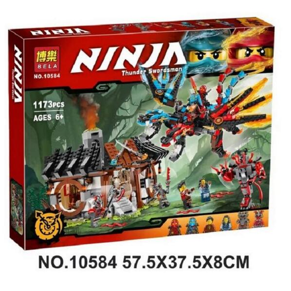 ФОТО 1173pcs Ninja New 10584 Dragon's Forge DIY Model Building Kit Blocks Gifts Toys Compatible with Lepin