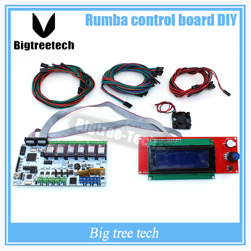 Lower price BIQU Rumba control board DIY+LCD 2004 controller display +jumper wire +DRV8825 Stepper driver for reprap 3D printer geeetech newest reprap 3d printer control board rumba usb cable best choice for diy fans