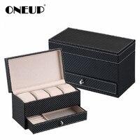 ONEUP High Grade Arbon Fiber Leather Jewelry Storage Box Container Boxes Watch Box Casket Drawer Organizer Watch Jewelry Box