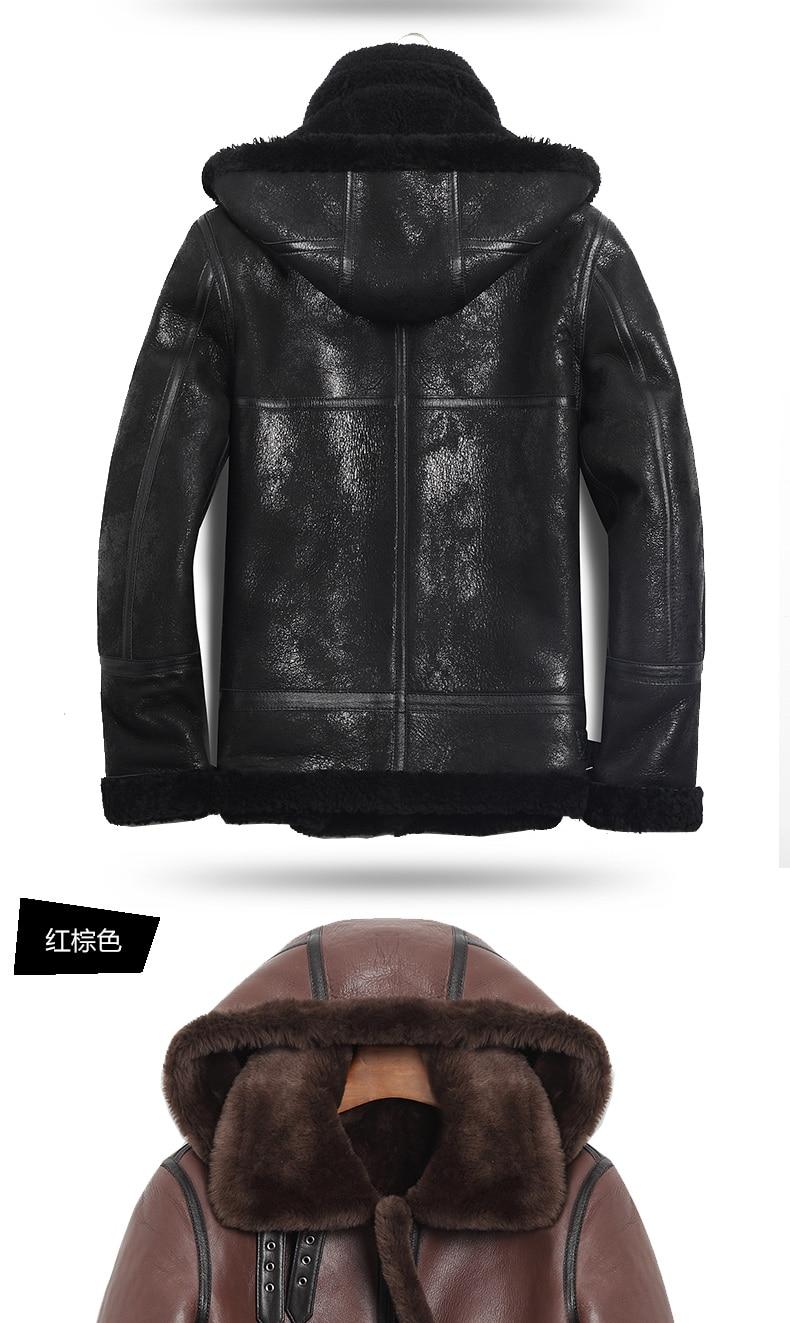 HTB11PRHKrGYBuNjy0Foq6AiBFXaq AYUNSUE Genuine Leather Jacket Men Winter Australian Natural Fur Real Sheepskin Coat for Men Lamb Fur Flight Men's Jackets KJ853