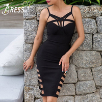 INDRESSME 2017 New Women Sexy Sheath Solid Hollow Out Spaghetti Strap Asymmetrical Summer Bandage Dress
