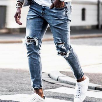 New Skinny Jeans men Streetwear Destroyed Ripped     1