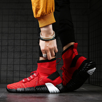 New High Top Platform Sneakers Men fly weave Stretch Sock Shoes men Dad Chunky Black red hip hop Thick Sole - discount item  40% OFF Men's Shoes