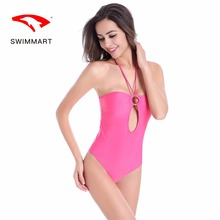 SWIMMART swimsuit push up hanging neck metal ring one-piece bikini swimwear women one piece swimming suit for women swim suit