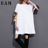 [EAM] 2018 Spring Summer Fashion New Black White Long T Shirt Loose Korean Sequins Sleeve stitch Hole Tops Woman T-shirt T32100