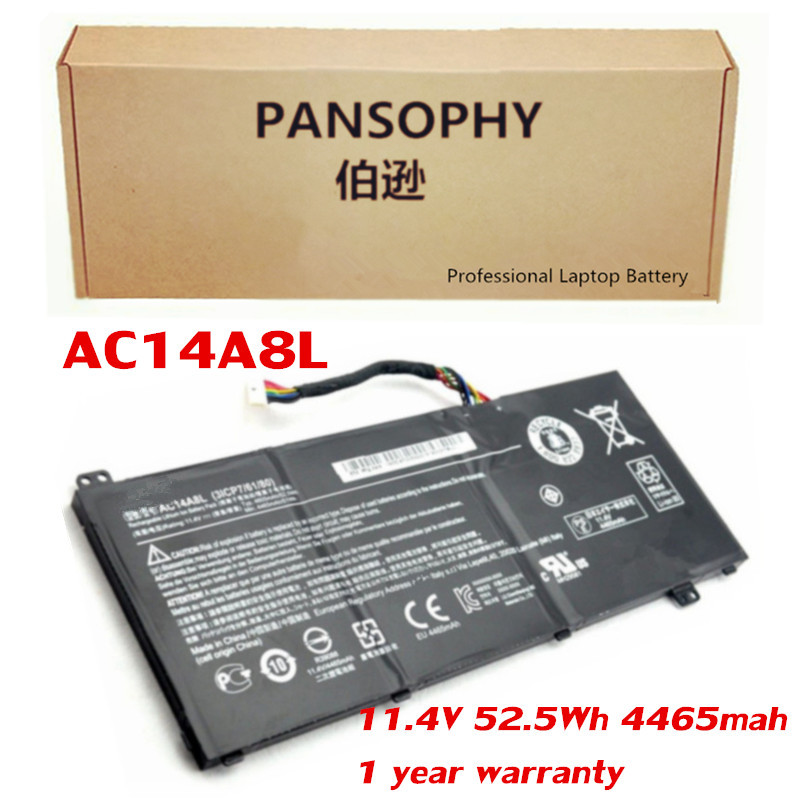 PANSOPHY 11.4V 4465mah AC14A8L Battery For Acer Aspire VN7-571 VN7-571G VN7-591 VN7-591G VN7-791 VN7-791G (3ICP7/61/80) new laptop keyboard for acer aspire vn7 791 vn7 791g ru russian layout