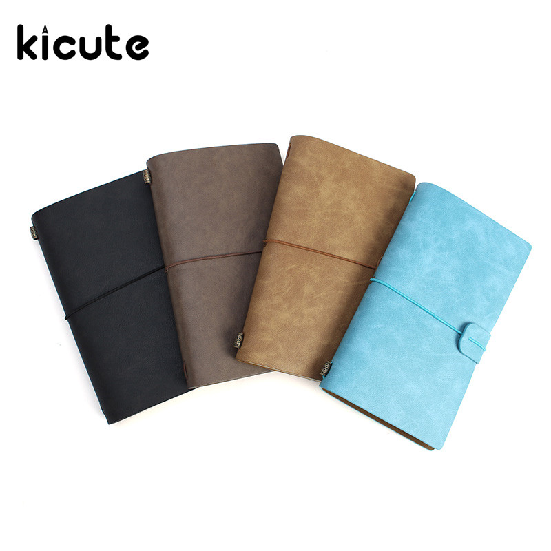 Kicute Vintage Leather Cover Notebooks Diary Journals Agenda Blank Kraft Paper Sketchbook Handmade Travel Notebook Gift