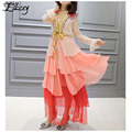 Luxury Brand 2017 Spring Summer Runway Silk Dress Ruffles V-neck Bow Flare Sleeve Long Dresses Women Mesh Patchwork Maxi Dresses