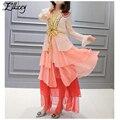 Luxury Brand 2017 Spring Summer Runway Silk Dress Ruffles V-neck Bow Flare Sleeve Long Dresses Women Mesh Patchwork Maxi Dresses