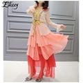 Marca de luxo 2017 primavera verão runway silk dress ruffles v-neck arco flare vestidos de manga longa mulheres malha patchwork maxi vestidos