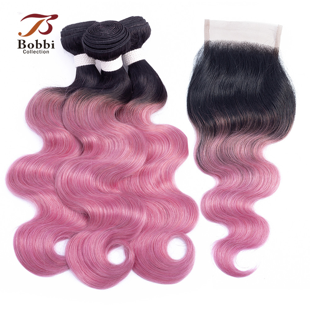BOBBI COLLECTION Pink Bundles With Closure Ombre Peruvian Body Wave Hair 2/3 Bundles Rose Red Remy Human Hair Extensions