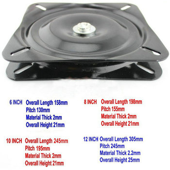 HQ SS 10Inch(250MM) Black Lacquer Baked and Full Solid Steel Ball Bearing Square Swivel Plate Chair Swivel Turntable