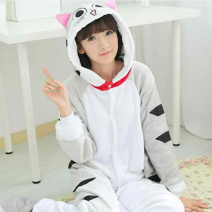 ... Чеширский кот Onesie пижамы кигуруми животных косплэй костюм семейная  Пижама для женщин Дети для 45707677adb7e