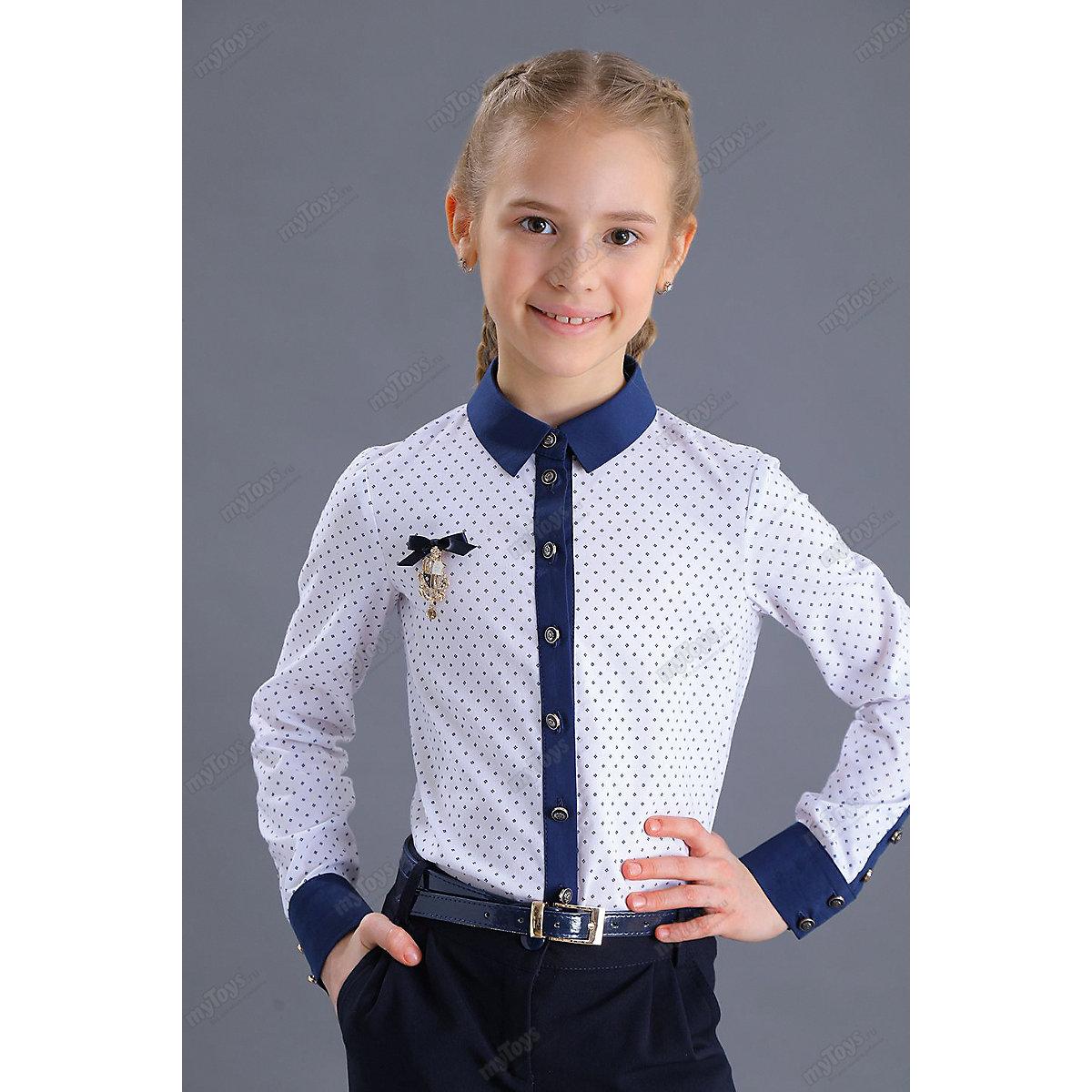 Malenkaya Lady Blouses & Shirts 11686274 blouse for girl school  clothes jacket wardrobe childrens shirt White Blue Girls Turn-down Collar