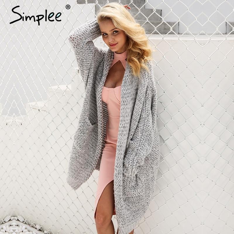Simplee Casual cardigan largo de punto cardigan holgado femenino suéter de punto cálido invierno 2018 cárdigan de Mujer talla grande