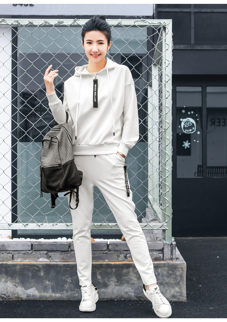 Double puppet suit women casual 17 spring new solid hooded two piece set zipper long sleeve 371009 9