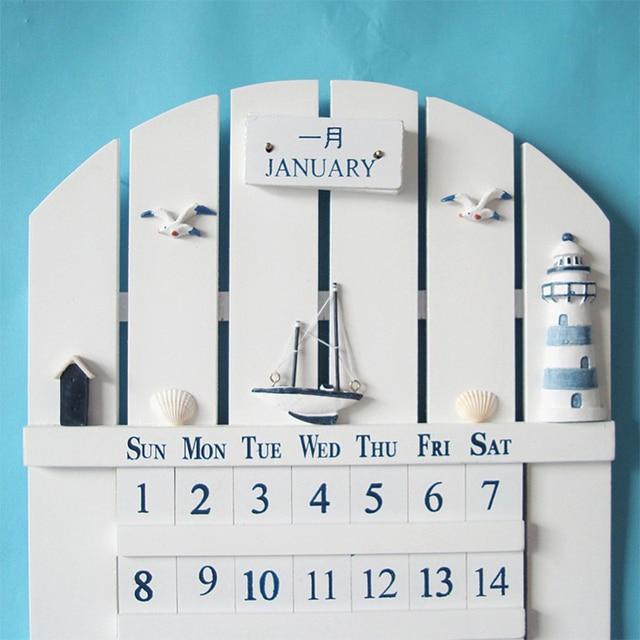 Mediterranean Style Wooden Hand made Wall Calendar , European ...