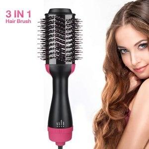 Электрический фен для волос, профессиональный утюжок для завивки волос, вращающаяся щетка для волос, инструменты для укладки волос 2 в 1, щет...