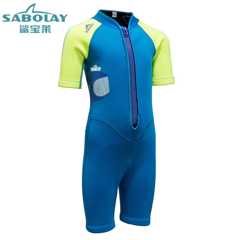 2 Mm Diving Suit for Boys Girls One Piece Swimsuit Jellyfish Sunscreen Surfing Children Wetsuit Snorkeling Suit Spearfishing
