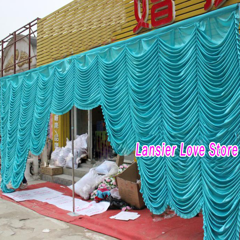 3m 6m Free Shipping Luxury Blue Swags For Wedding Decoration Backdrop D