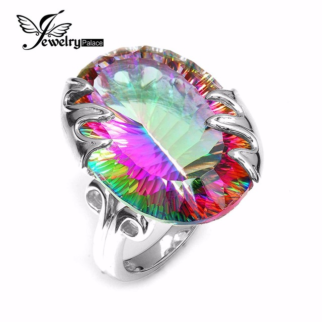 Brand New Super HUGE Vintage 42ct Genuine Rainbow Fire Mystic Topaz Solid 925 Sterling Silver Ring Fashion Jewelry