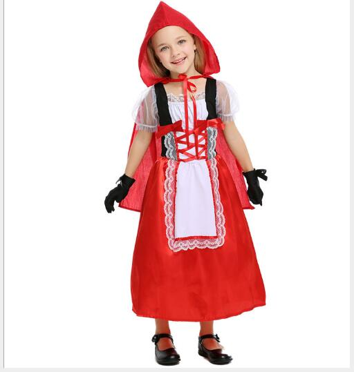 children girl Little Red Riding Hood cosplay dress princess halloween fancy costume fairy tales clothing