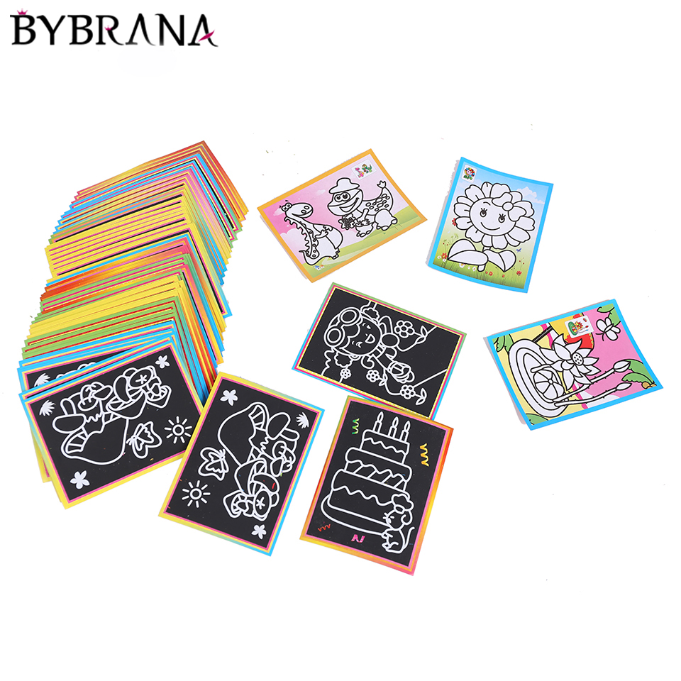 10pcs 13x9.5cm Scratch Art Paper Magic Painting Paper With Drawing Stick For Kids Toy Colorful Drawing Toys Free Shipping