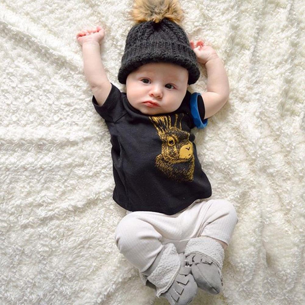 Детские кролика футболка верх + штаны (брюки) Экипировка для новорожденных Обувь для мал ...